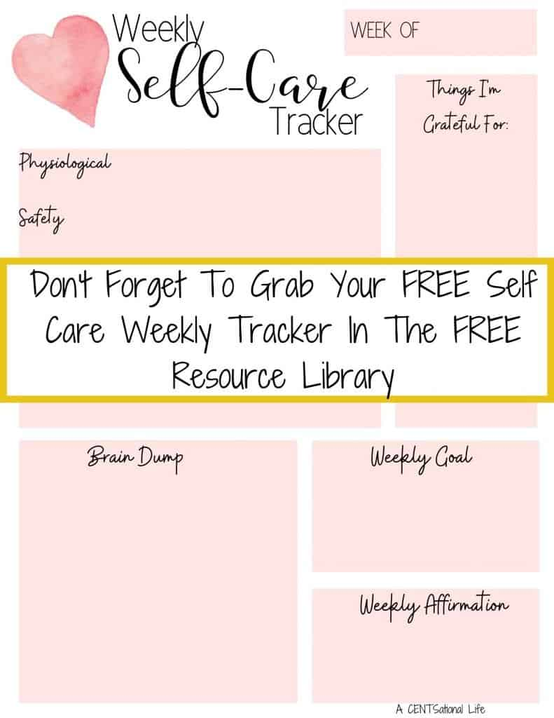 Self Care Challenge Weekly Self Care Tracker