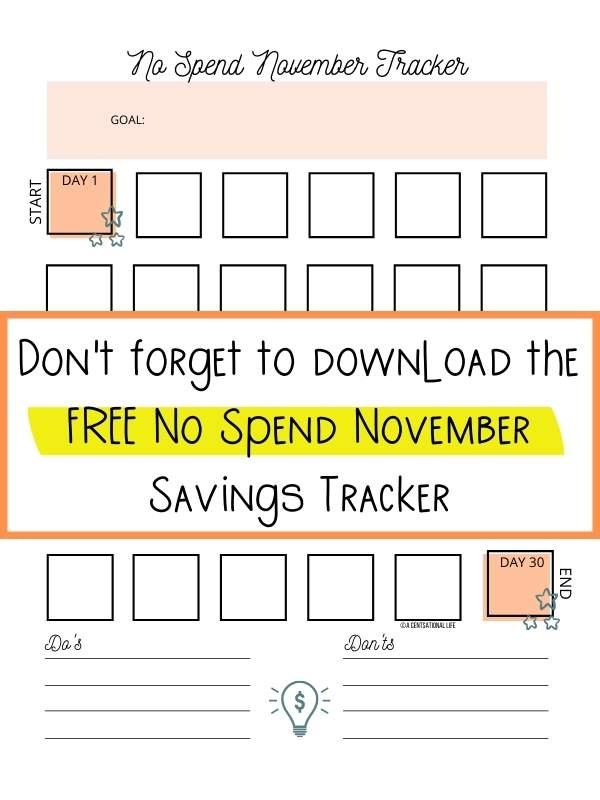 No Spend November Printable